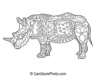 rhinocéros, livre coloration, pour, adultes, vecteur
