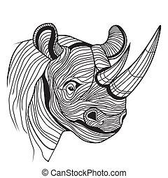 rhinocéros, tête, animal, rhinocéros