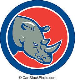 rhinocéros, tête, cercle, dessin animé
