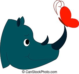Rhinoceros and butterfly, illustration, vector on white background.