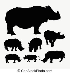 Rhinoceros animal silhouettes