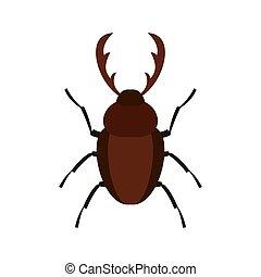 Rhinoceros beetle icon, flat style
