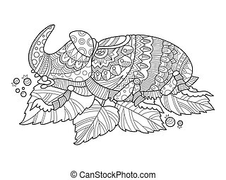 Rhinoceros beetle insect coloring book vector illustration....