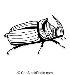 Rhinoceros beetle vector tattoo or for T-shirts