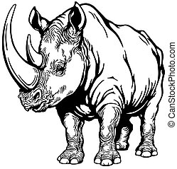 rhinoceros black and white - standing rhinoceros or rhino,...