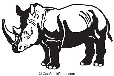 rhinoceros black white - rhinoceros black and white side...