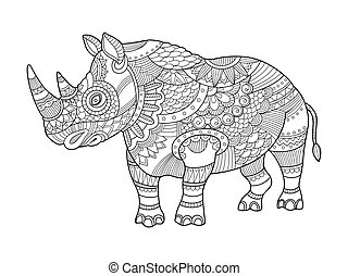 Rhinoceros coloring book for adults vector illustration....