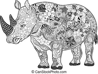 "Rhinoceros doodle - Hand drawn illustration ""Rhinoceros"" was..."