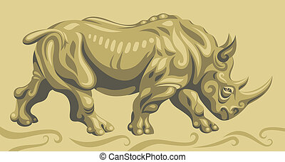 Rhinoceros - Styled running rhino. Used four shades of color...