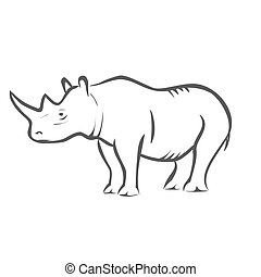 Rhinoceros - Vector illustration : Rhinoceros on a white...