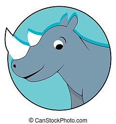 Rhinoceros icon flat
