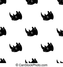 Rhinoceros icon in black style isolated on white background. Realistic animals symbol stock bitmap, raster illustration.