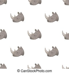 Rhinoceros icon in cartoon style isolated on white background. Realistic animals symbol stock bitmap, raster illustration.
