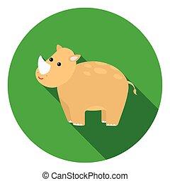 Rhinoceros icon in flat style isolated on white background. Animals symbol stock vector illustration.