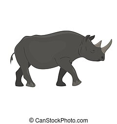 Rhinoceros isolated on white background. Vector graphics.