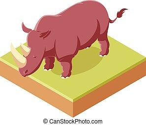 Rhinoceros isometric icon