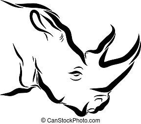 Rhinoceros Line Art - Line art drawing illustration of a ...