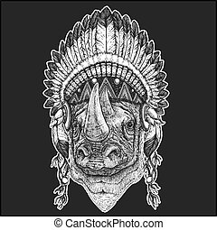 Rhinoceros, rhino Cool animal wearing native american indian headdress with feathers Boho chic style Hand drawn image for tattoo, emblem, badge, logo, patch