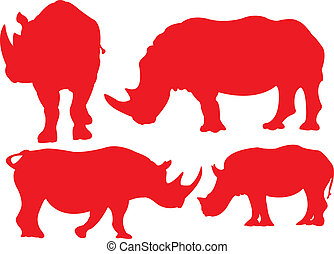 Rhinoceros. - Rhino in red silhouettes.