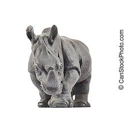 Rhinoceros rhino sculpture made of carved dark gray stone...