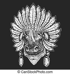 Rhinoceros, rhino Traditional ethnic indian boho headdress...