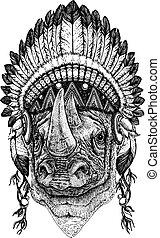Rhinoceros, rhino, zoo. Wild animal wearing inidan headdress...