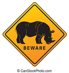 Rhinoceros road sign