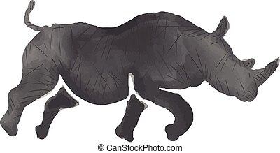 Rhinoceros Silhouette Running Watercolor - Watercolor style...