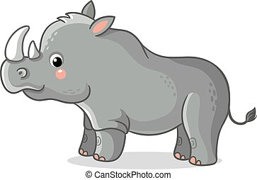 Rhinoceros stands on a white background.