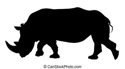 Rhinoceros - Vector illustration of rhinoceros silhouette
