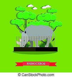 Rhinoceros vector illustration in flat style