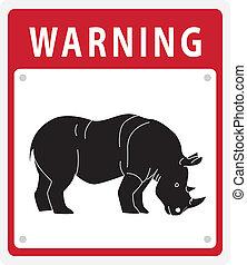 Rhinoceros Warning sign