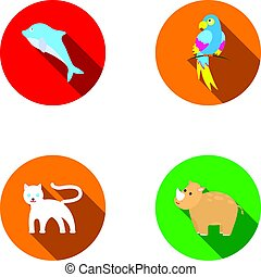 Rhinoceros,popugay, panther, dolphin.Animal set collection icons in flat style vector symbol stock illustration web.
