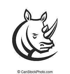 Rhinos head logo for sport club or team. Animal mascot logotype. Template. Vector illustration.