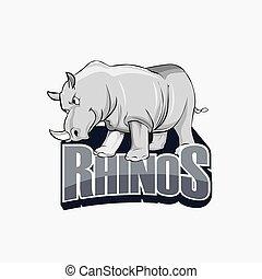 rhinos illustration design colorful