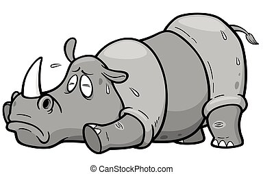 Rhinos - Vector illustration of Cartoon rhinos in Hot...