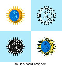 Rhinovirus cell icon set in flat and line style