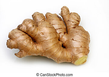 Rhizome of fresh ginger ready to be used as an ingredient in...