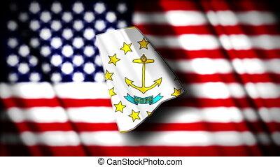 Rhode Island 03 - Flag of Rhode Island in the shape of Rhode...