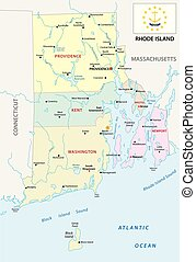 rhode island administrative map with flag