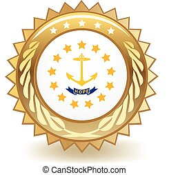 Rhode Island Badge - Gold badge with the flag of Rhode...