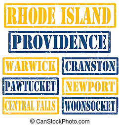 Rhode Island Cities stamps - Set of Rhode Island cities ...
