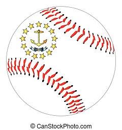 Rhode Island Flag Baseball - A new white baseball with red...