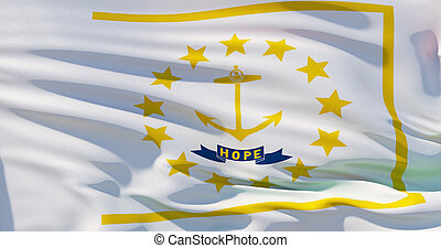 Rhode Island flag on silk texture, United States of America. High detailed 3d illustration