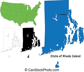 Rhode island map - State of Rhode Island, USA
