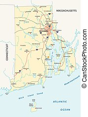 rhode island road vector map