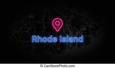 Rhode Island State of the United States of America. Animated neon location marker on the map. Easy to use with screen transparency mode on your video. 4k 30 fps.