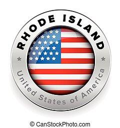Rhode Island Usa flag badge button vector