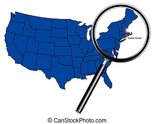 Rhode Island state outline set into a map of The United...