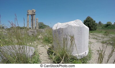Rhodes acropolis ruins, Greece,4K